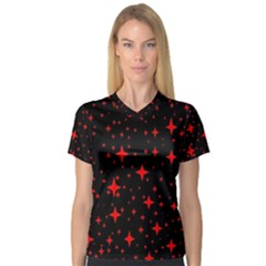 Bright Red Stars In Space Women s V Neck Sport Mesh Tee by Costasonlineshop