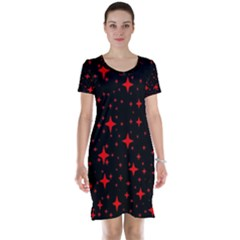 Bright Red Stars In Space Short Sleeve Nightdress by Costasonlineshop