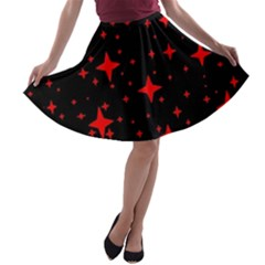 Bright Red Stars In Space A Line Skater Skirt
