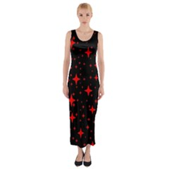 Bright Red Stars In Space Fitted Maxi Dress