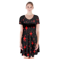 Bright Red Stars In Space Short Sleeve V Neck Flare Dress by Costasonlineshop