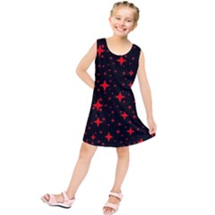 Bright Red Stars In Space Kids  Tunic Dress