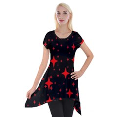 Bright Red Stars In Space Short Sleeve Side Drop Tunic by Costasonlineshop