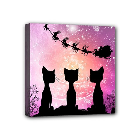 Cats Looking In The Sky At Santa Claus At Night Mini Canvas 4  X 4  by FantasyWorld7