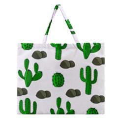 Cactuses 3 Zipper Large Tote Bag by Valentinaart