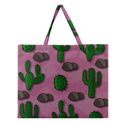 Cactuses 2 Zipper Large Tote Bag by Valentinaart