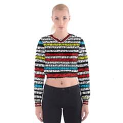 Simple Colorful Design Women s Cropped Sweatshirt by Valentinaart