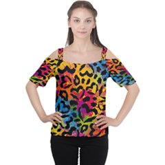 Colorful Hearts Camo Women s Cutout Shoulder Tee by KirstenStar