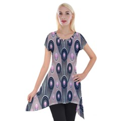 Background Abstract Pattern Grey Short Sleeve Side Drop Tunic by Zeze