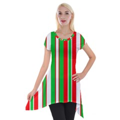 Christmas Holiday Stripes Red green Short Sleeve Side Drop Tunic by Zeze