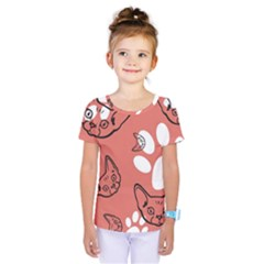 Face Cat Pink Cute Kids  One Piece Tee