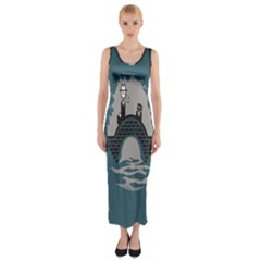 Man And Black Cat Fitted Maxi Dress by AnjaniArt
