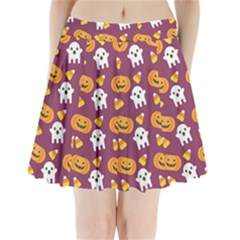 Pumpkin Ghost Canddy Helloween Pleated Mini Skirt by AnjaniArt