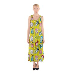Robot Cartoons Sleeveless Maxi Dress