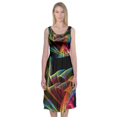 Dancing Northern Lights, Abstract Summer Sky  Midi Sleeveless Dress by DianeClancy