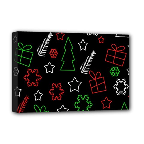 Green And  Red Xmas Pattern Deluxe Canvas 18  X 12   by Valentinaart