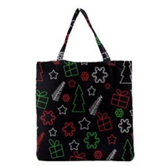 Green And  Red Xmas Pattern Grocery Tote Bag by Valentinaart