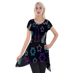 Creative Xmas Pattern Short Sleeve Side Drop Tunic