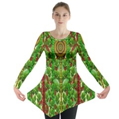 The Golden Moon Over The Holiday Forest Long Sleeve Tunic  by pepitasart