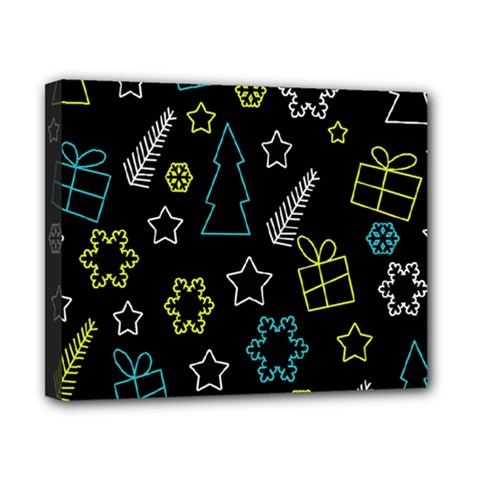 Xmas Pattern   Blue And Yellow Canvas 10  X 8  by Valentinaart