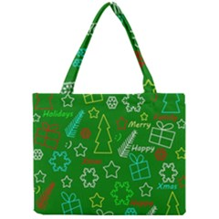 Green Xmas Pattern Mini Tote Bag by Valentinaart