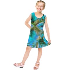 Crystal Gold Peacock, Abstract Mystical Lake Kids  Tunic Dress by DianeClancy
