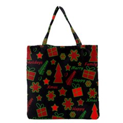 Red And Green Xmas Pattern Grocery Tote Bag by Valentinaart