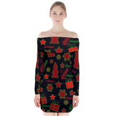 Red and green Xmas pattern Long Sleeve Off Shoulder Dress by Valentinaart