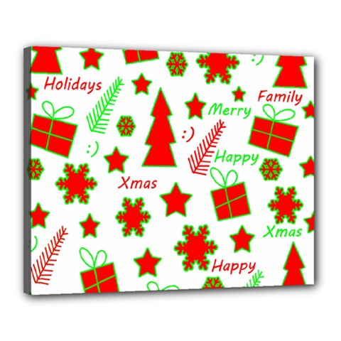 Red And Green Christmas Pattern Canvas 20  X 16  by Valentinaart