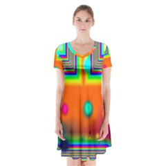Crossroads Of Awakening, Abstract Rainbow Doorway  Short Sleeve V Neck Flare Dress by DianeClancy
