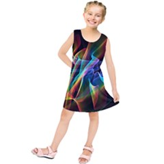 Aurora Ribbons, Abstract Rainbow Veils  Kids  Tunic Dress by DianeClancy