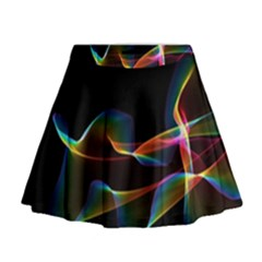 Fluted Cosmic Rafluted Cosmic Rainbow, Abstract Winds Mini Flare Skirt