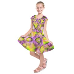 Golden Violet Crystal Heart Of Fire, Abstract Kids  Short Sleeve Dress by DianeClancy