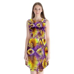 Golden Violet Crystal Palace, Abstract Cosmic Explosion Sleeveless Chiffon Dress   by DianeClancy
