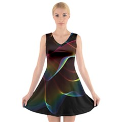 Imagine, Through The Abstract Rainbow Veil V Neck Sleeveless Skater Dress by DianeClancy