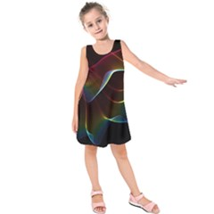 Imagine, Through The Abstract Rainbow Veil Kids  Sleeveless Dress by DianeClancy