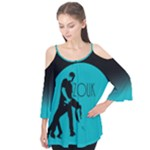 ZOUK BLUE MOON Flutter Sleeve Cotton Tee