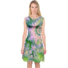 Rose Apple Green Dreams, Abstract Water Garden Capsleeve Midi Dress by DianeClancy
