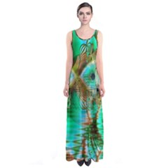 Spring Leaves, Abstract Crystal Flower Garden Sleeveless Maxi Dress