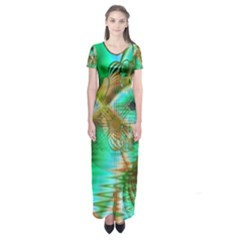 Spring Leaves, Abstract Crystal Flower Garden Short Sleeve Maxi Dress by DianeClancy