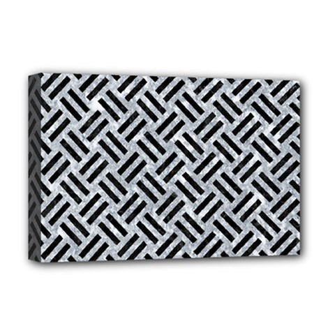 Woven2 Black Marble & Gray Marble (r) Deluxe Canvas 18  X 12  (stretched) by trendistuff