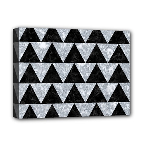 Triangle2 Black Marble & Gray Marble Deluxe Canvas 16  X 12  (stretched)  by trendistuff