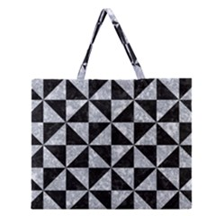 TRI1 BK-GY MARBLE Zipper Large Tote Bag by trendistuff