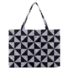 Triangle1 Black Marble & Gray Marble Medium Zipper Tote Bag