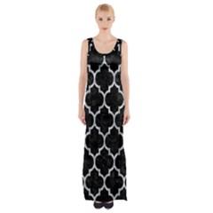 Tile1 Black Marble & Gray Marble Maxi Thigh Split Dress by trendistuff