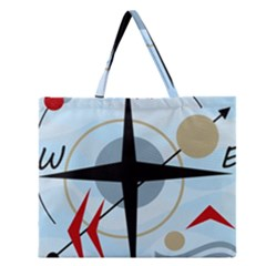Compass Zipper Large Tote Bag by Valentinaart