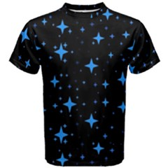 Bright Blue  Stars In Space Men s Cotton Tee by Costasonlineshop