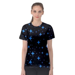 Bright Blue  Stars In Space Women s Sport Mesh Tee by Costasonlineshop