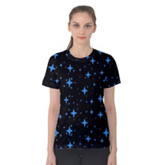 Bright Blue  Stars In Space Women s Cotton Tee by Costasonlineshop