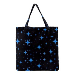 Bright Blue  Stars In Space Grocery Tote Bag by Costasonlineshop